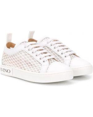Кожаные белые кроссовки на шнуровке Ermanno Scervino Junior