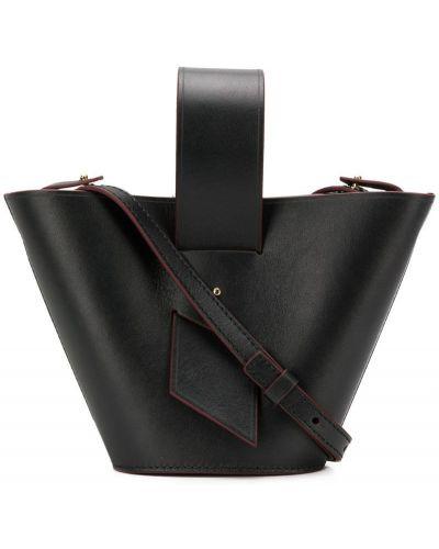 Кожаная сумка на плечо черная Carolina Santo Domingo