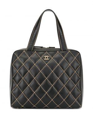 Черная сумка-тоут на молнии с карманами винтажная Chanel Pre-owned