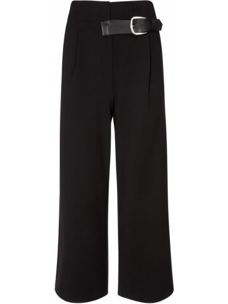 Черные льняные брюки с карманами с пряжкой Alice+olivia