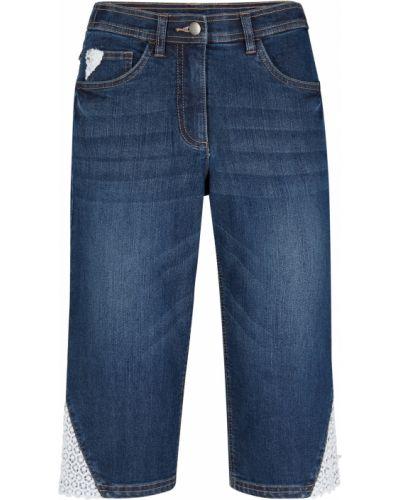 Кружевные джинсовые шорты - черные Bonprix