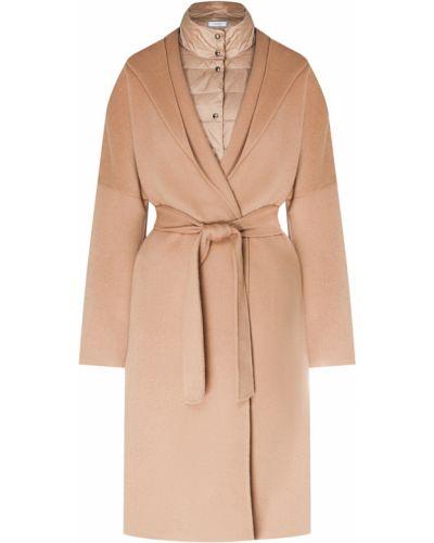 Пальто с капюшоном бежевое шерстяное Peserico