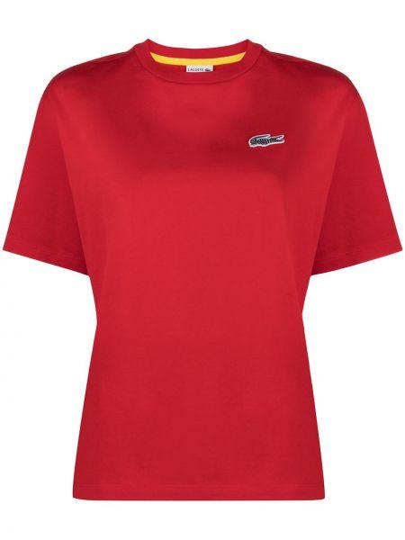 Красная прямая с рукавами футболка Lacoste