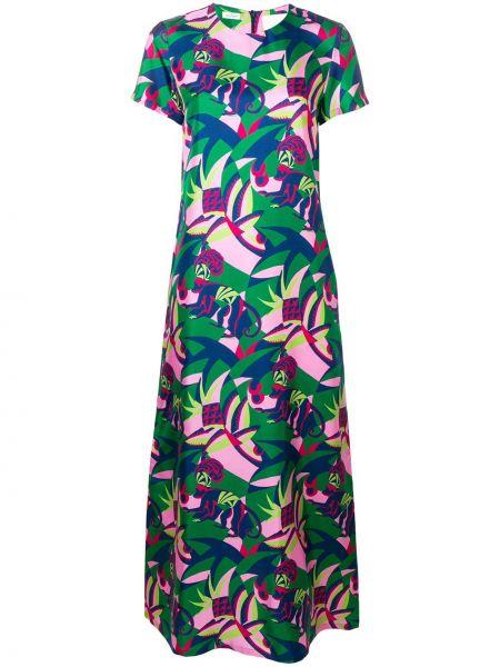 Расклешенное шелковое розовое платье мини с вырезом La Doublej