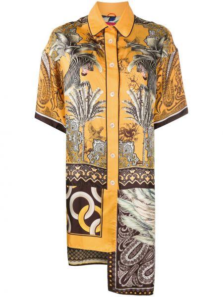 Sukienka mini asymetryczna krótki rękaw z jedwabiu F.r.s For Restless Sleepers
