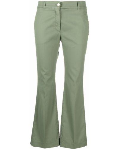 Расклешенные хлопковые зеленые укороченные брюки Incotex