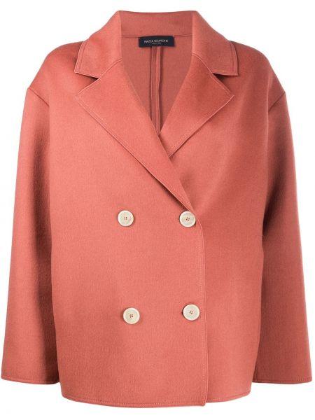 Шерстяной красный удлиненный пиджак двубортный Piazza Sempione