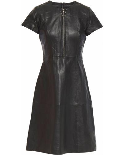 Расклешенное кожаное черное платье Muubaa