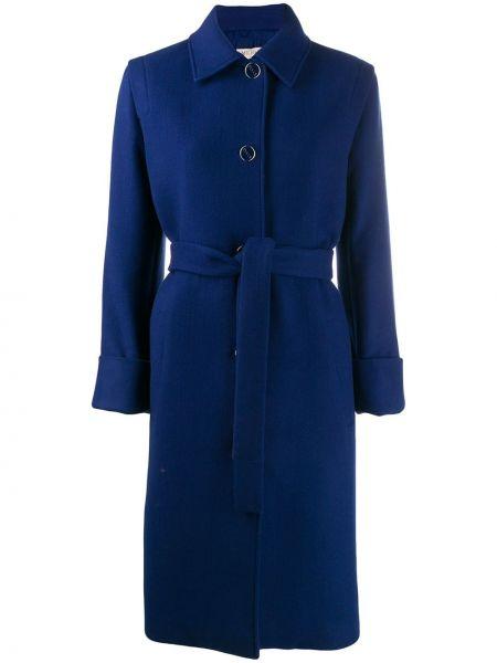 Синее шерстяное пальто классическое с капюшоном Emilio Pucci