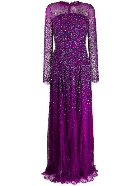 Fioletowa sukienka wieczorowa z długimi rękawami z jedwabiu Escada