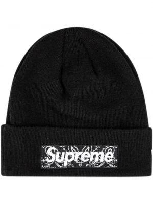 Ciepła czarna czapka wełniana Supreme