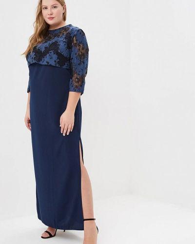 Вечернее платье осеннее синее Jp