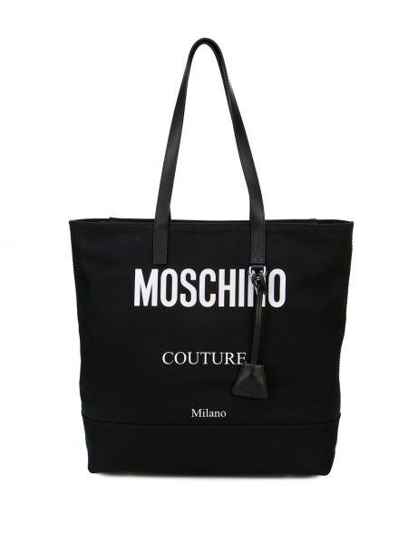 Черная нейлоновая сумка-тоут на молнии с карманами Moschino