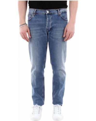 Niebieskie jeansy zapinane na guziki bawełniane Aglini