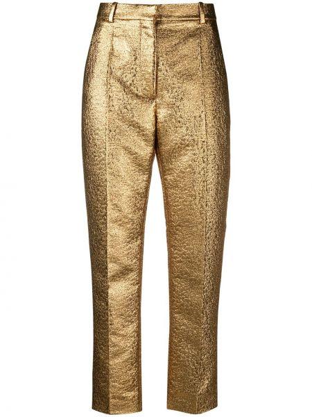 Брючные желтые укороченные брюки с поясом Valentino