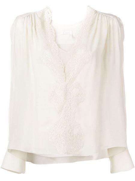Ажурная нейлоновая прямая блузка с длинным рукавом с V-образным вырезом Chloé
