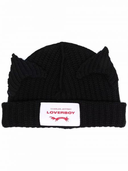 Czarna czapka prążkowana Charles Jeffrey Loverboy