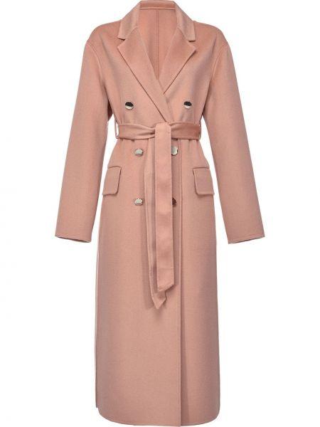 Długi płaszcz wełniany - różowy Pinko