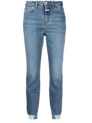 Хлопковые синие укороченные джинсы с нашивками Closed