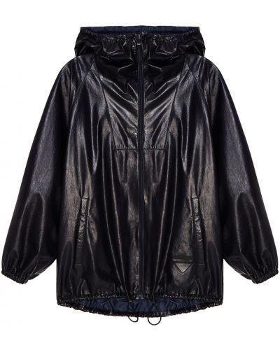 Кожаная куртка с капюшоном на молнии Prada