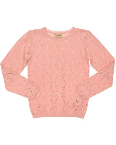 Różowy sweter z mankietami perforowany Gucci