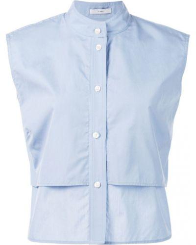 Однобортная синяя рубашка без рукавов Tome