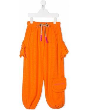 Оранжевые хлопковые брюки с карманами на шнурках Natasha Zinko Kids