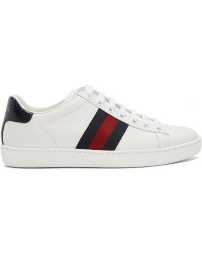 Skórzany biały sneakersy na sznurowadłach okrągły nos Gucci
