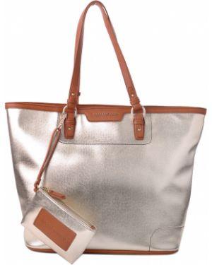 Кожаная сумка - золотая Roccobarocco