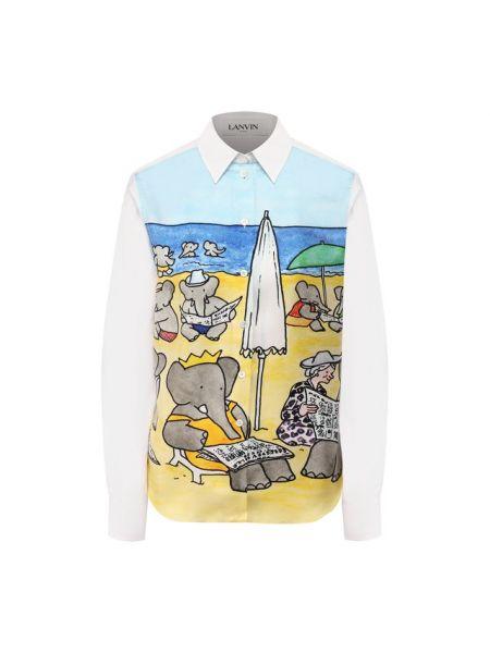 Джинсовая рубашка с принтом шелковая Lanvin