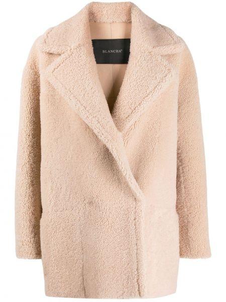 С рукавами однобортное пальто с карманами из овчины Blancha