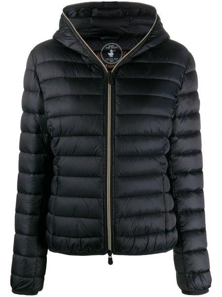 С рукавами черная нейлоновая куртка с капюшоном с карманами Save The Duck