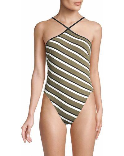 Зеленый купальник в полоску с рисунком Solid & Striped