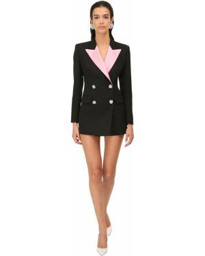Черная куртка двубортная с карманами Alessandra Rich