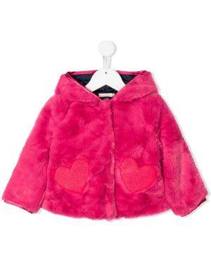 Różowa kurtka z kapturem z długimi rękawami Billieblush