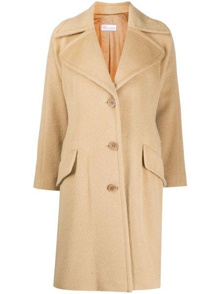Beżowy długi płaszcz wełniany z długimi rękawami Redvalentino