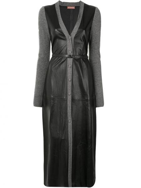 Черное платье миди на пуговицах с V-образным вырезом с декоративной отделкой Altuzarra