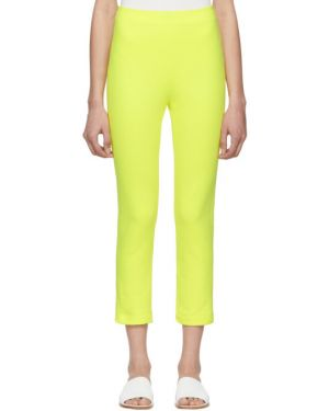 Желтые махровые укороченные брюки с поясом скинни A_plan_application