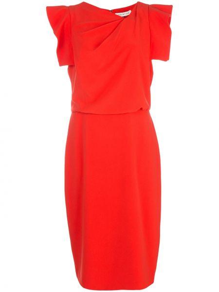 Красное приталенное платье миди на молнии с драпировкой Halston Heritage
