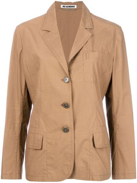 Однобортный желтый пиджак винтажный на пуговицах Jil Sander Pre-owned