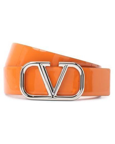 Кожаный оранжевый ремень Valentino