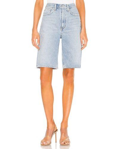 Bawełna niebieski dżinsowe szorty z kieszeniami Agolde
