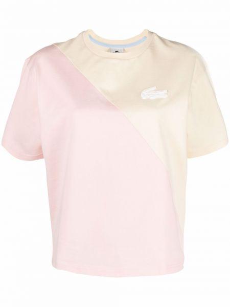 T-shirt z haftem krótki rękaw bawełniany Lacoste Live
