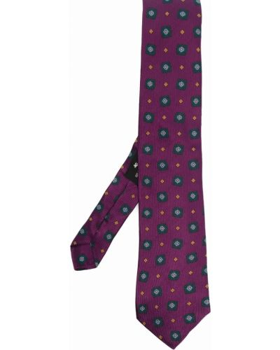 Krawat w kwiaty - różowy Etro