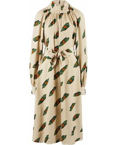 Свободное бежевое платье свободного кроя с поясом Parole By Victoria Andreyanova