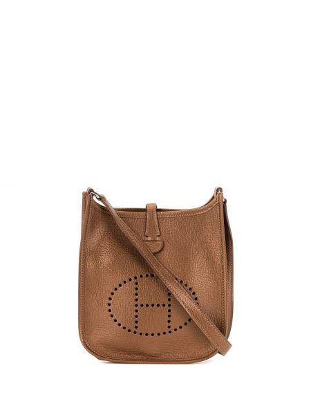 Кожаная коричневая сумка через плечо винтажная Hermès