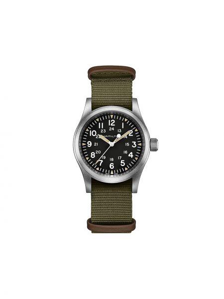 Zielony zegarek mechaniczny srebrny klamry Hamilton Watch