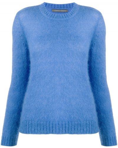 Синий вязаный джемпер из мохера с вырезом круглый Alberta Ferretti