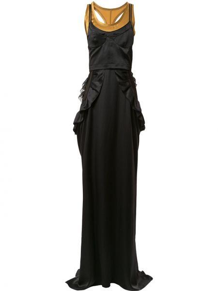 Черное шелковое тонкое платье со вставками Vera Wang