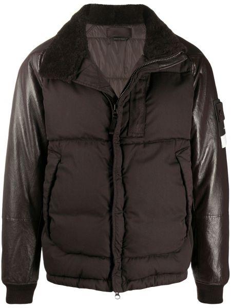 Z rękawami skórzany brązowy długa kurtka z kołnierzem Stone Island